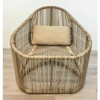 Modern Indoor/Outdoor Beige Vinyl Strap Lounge Chair Preview