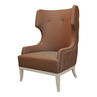 Mid-Century Italian Dedar Crossing Fabric-Upholstered Wingback Chair For Sale