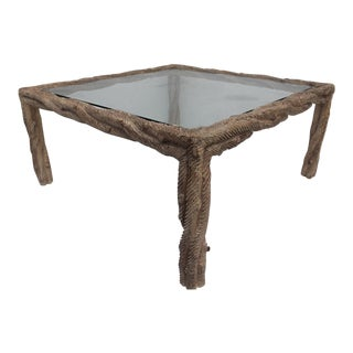 Italian Hollywood Regency Carved Wood Square Coffee Table For Sale