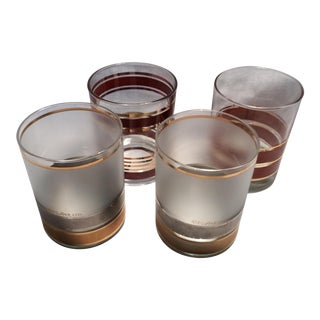 Set of 4 Culver Mid-Century Modern Lo-Ball Glasses For Sale