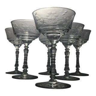 Vintage Libbey Rock Sharpe Crystal Wine Glasses - Set of 6 For Sale