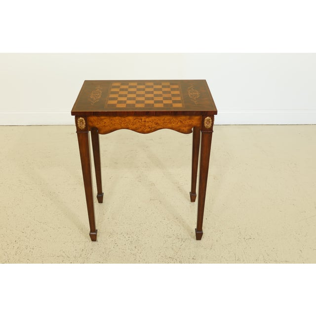 Maitland Smith Inlaid Walnut Games Table Top Occasional Table For Sale - Image 11 of 11