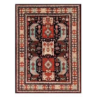 Tribal Red Afghan Rug - 5' X 7' For Sale