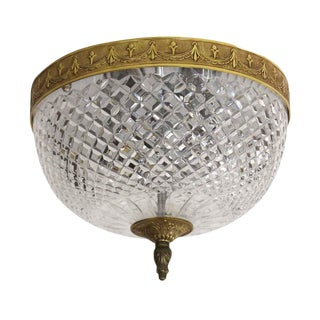 Italian Crystal Flush Mount Fixture With Brass Rim - From Waldorf Astoria For Sale