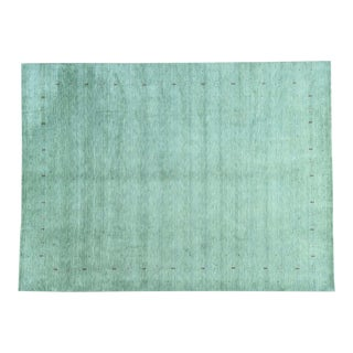 Modern Gabbeh Hand-Woven Folk Art Green Rug- 10′2″ × 14′ For Sale