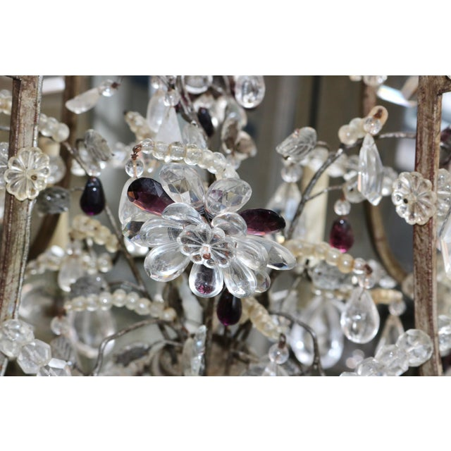 Masion Bagues, 12-Light, Rock Crystal & Amethyst Chandelier For Sale In West Palm - Image 6 of 11