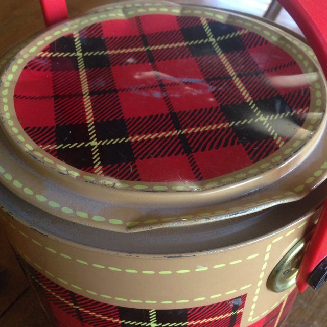 Mid Century Metal Plaid Cooler/Ice Bucket - Image 6 of 11