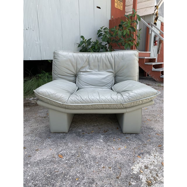 Leather Vintage Grey Italian Leather Chair by Nicoletti Salotti For Sale - Image 7 of 7