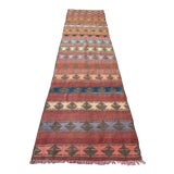 "Image of Vintage Anatolian Handmade Kilim Runner-3'x11'4"" For Sale"