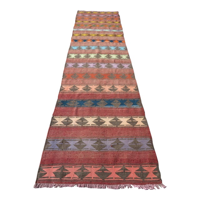 "Vintage Anatolian Handmade Kilim Runner-3'x11'4"" For Sale"