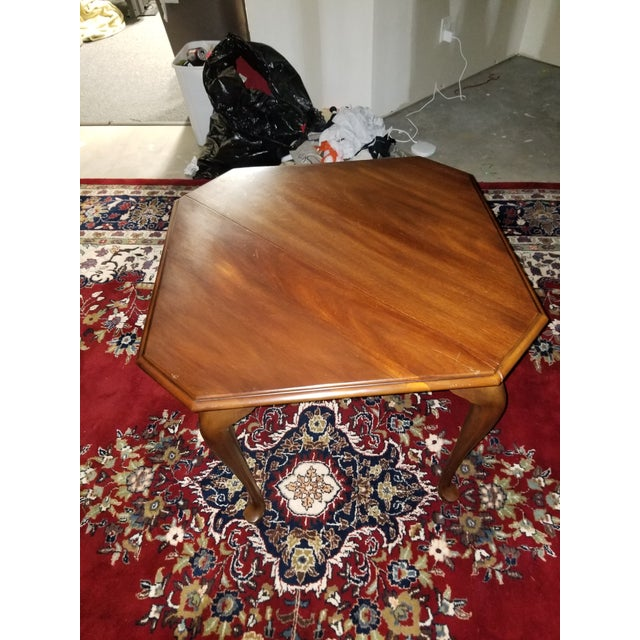 1980s Queen Anne Henkel Harris Drop Side Mahogany Corner Table For Sale - Image 9 of 9