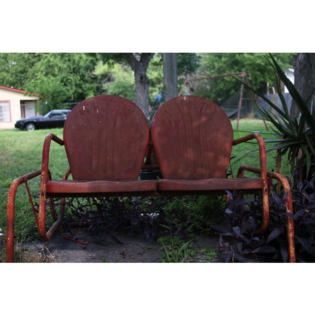 Red Vintage Metal Patio Glider & Two Chairs - Set of 3 For Sale - Image 8 of 10