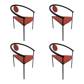 Set of Four Tripod Memphis Dining Chairs in the Manner of Michele de Lucchi For Sale