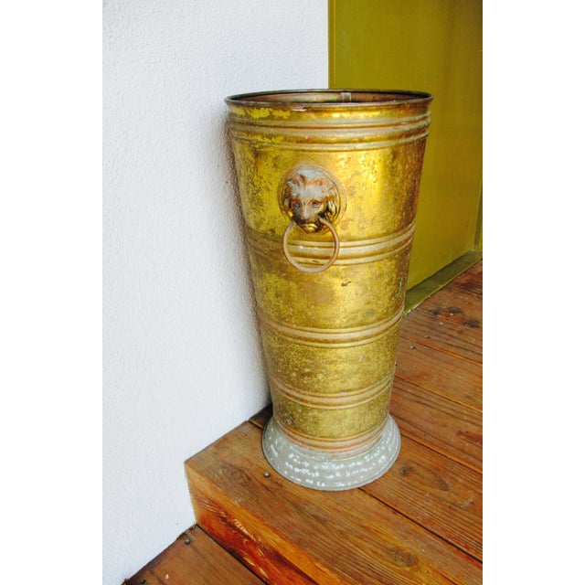 Hollywood Regency Lion Head Brass Umbrella Stand - Image 4 of 10