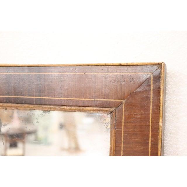Early 19th Century 19th Century Italian Charles X Inlay Walnut Wall Mirror For Sale - Image 5 of 9