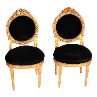 19th Century French Giltwood Velvet Side Chairs - a Pair For Sale