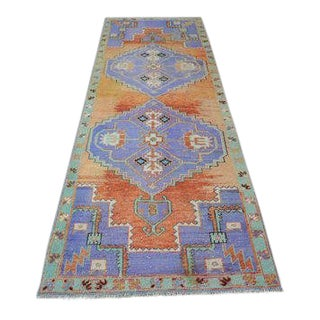 1960s Vintage Turkish Oushak Runner Rug - 3′1″ × 9′5″ For Sale