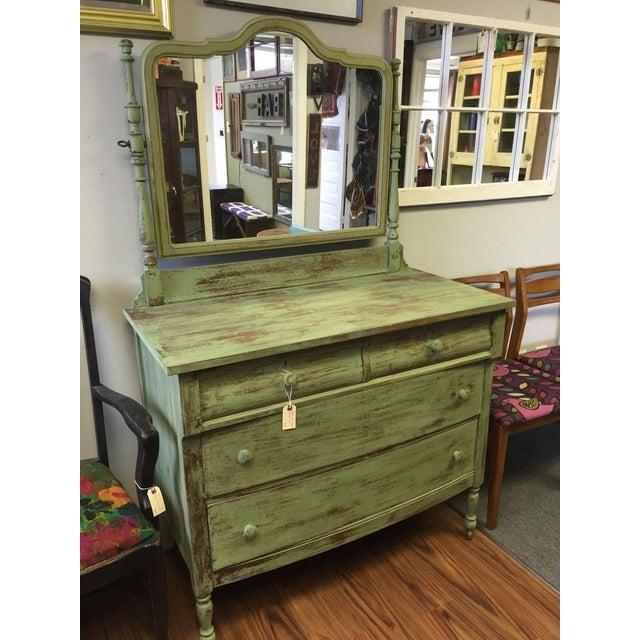 4-Drawer Green Distressed Dresser - Image 2 of 4