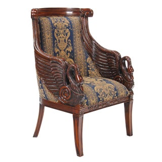 21st Century Mahogany Swan Arm Chair For Sale