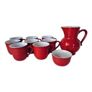 1970s Emile Henry Red Coffee Service - 10 Piece Set For Sale