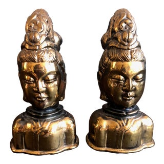 Brass Sidhartha Busts- Pair For Sale