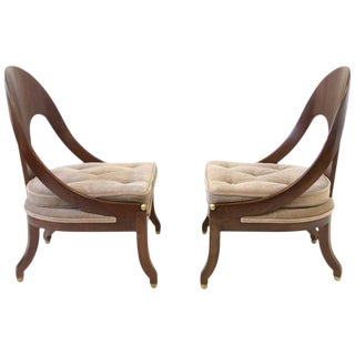 Pair of Mahogany Spoon Back Slipper Lounge Chairs by Michael Taylor for Baker For Sale