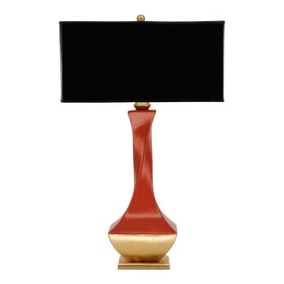 Twist of Fate Orange and Gold Lamp with Black Shade For Sale