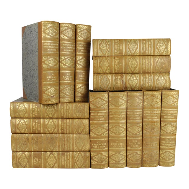 Art Deco Leather-Bound Books - Set of 15 - Image 1 of 3