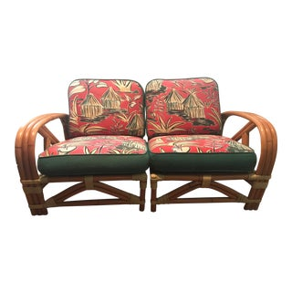 Mid Century Modern Ritts Tropicana Rattan Bamboo Loveseat For Sale