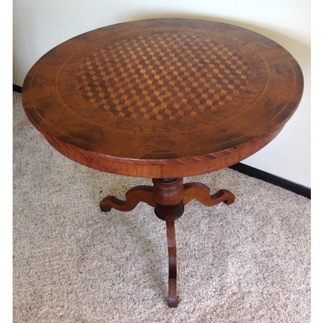 Intricately Detailed Parquet Antique Round Table - Image 2 of 11