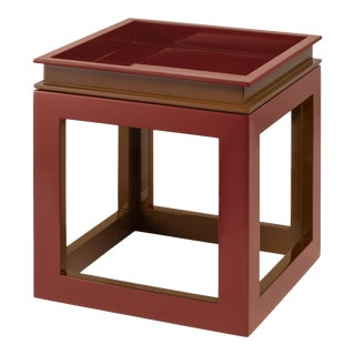 Jeffrey Bilhuber Collection Large Cube Tray Table in Cabernet Red / Tobacco Leaf Brown For Sale