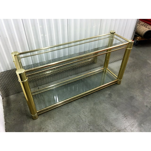 Brass Frame Double-Tier Glass Console Table - Image 5 of 6