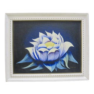 1940s Vintage Frank Dorland Hindu Blossom White Lotus Flower Oil Wax Painting For Sale