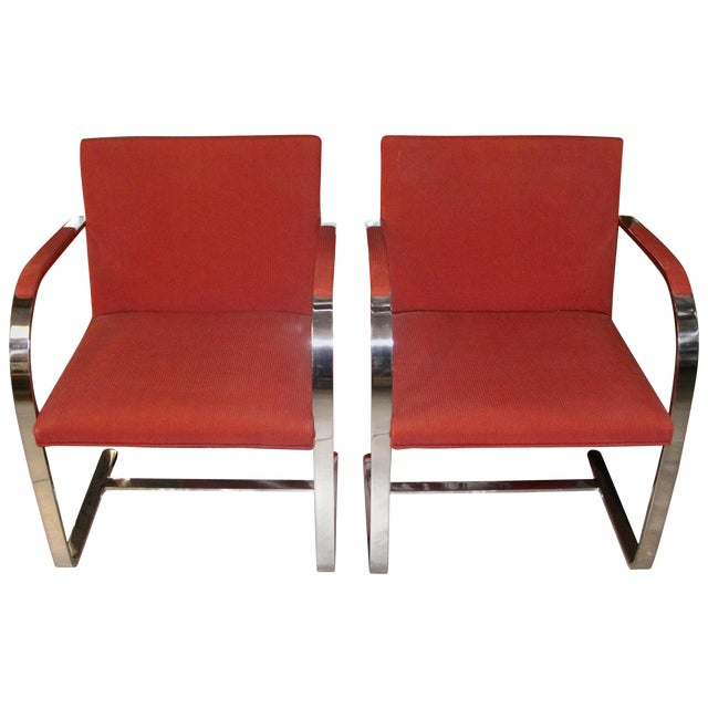 Knoll Mies Van Der Rohe Brno Chairs Flat Bar Dated 1980 - a Pair For Sale
