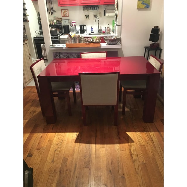 Abc Carpet & Home Extendable Dining Table & 4 Chairs - Image 3 of 8