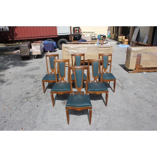 Monumental set of six French Art Deco solid mahogany dining chairs by Jules Leleu , the chair frames are in excellent...