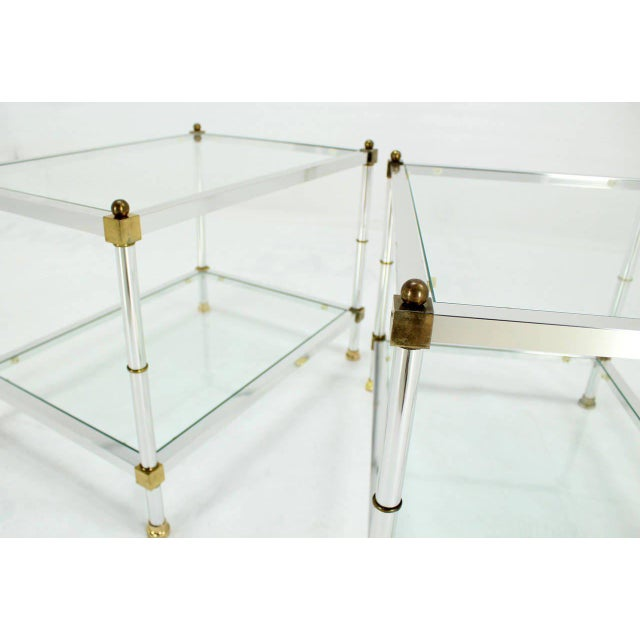 Mid-Century Modern Pair of Mid-Century Modern Glass Brass Chrome Side or End Tables For Sale - Image 3 of 5