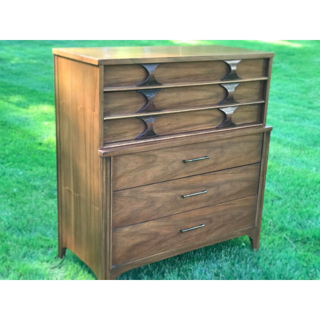 Mid-Century Modern 1960s Mid-Century Modern Kent Coffey Walnut & Rosewood Perspecta Highboy Dresser For Sale - Image 3 of 8