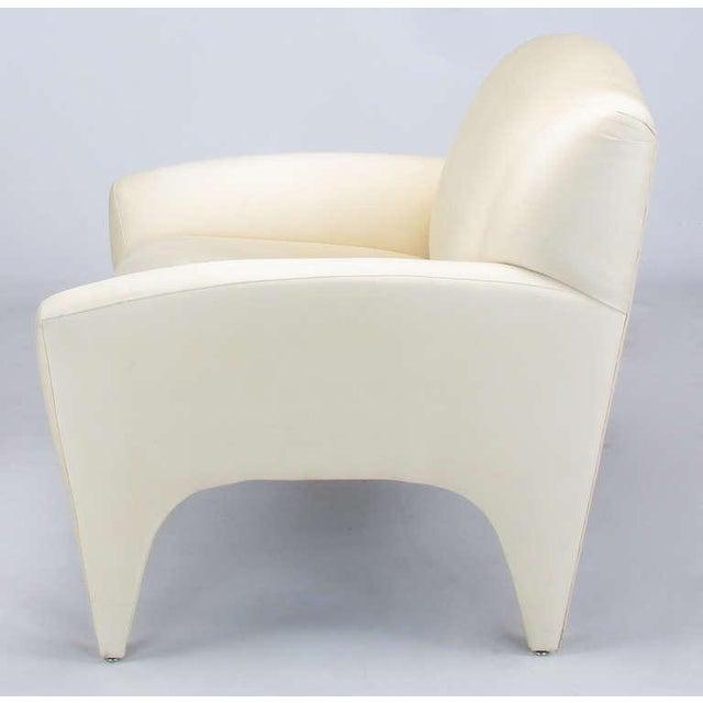 Pair Vladimir Kagan Lounge Chairs In Ivory Silk - Image 8 of 9