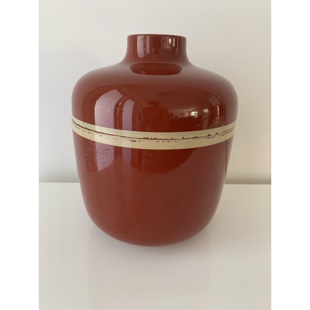 1980s Vintage Brick Red Lacquer Ware Nesting Jars - Set of 4 For Sale - Image 9 of 13