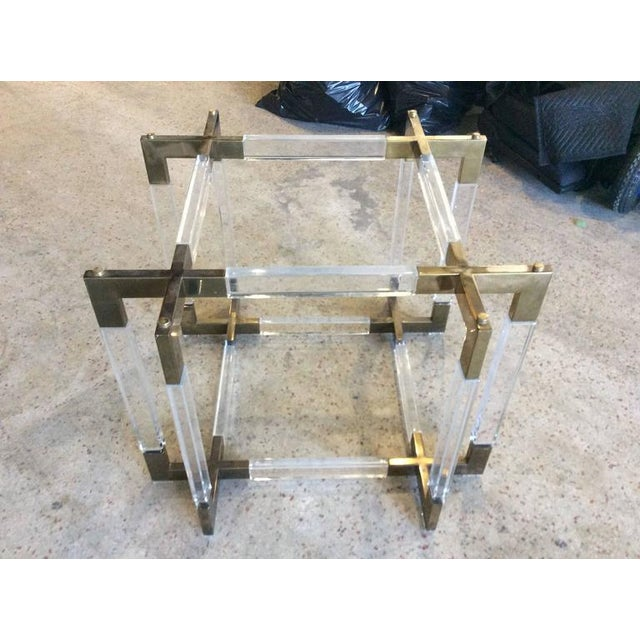 Brass Charles Hollis Jones Vintage CHJ Lucite & Brass Metric Dining Table Base For Sale - Image 7 of 11