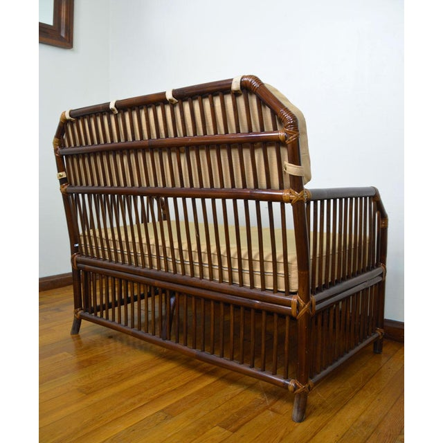 1980s 1980s Vintage Rattan Settee in the Manner of Willow and Reed For Sale - Image 5 of 13