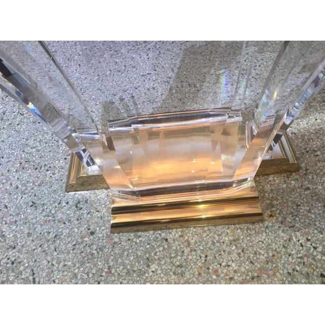 Metal Bigelow Table Base in Lucite and Polished Brass 1980s For Sale - Image 7 of 12