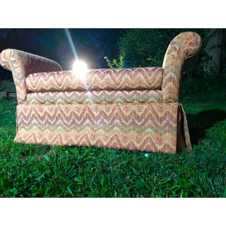Ethan Allen Chevron Upholstered Scroll Arm Bench Preview