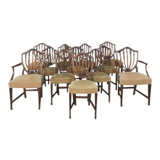 Set of 12 Antique English Sheraton Dining Chairs Includes Four Armchairs For Sale