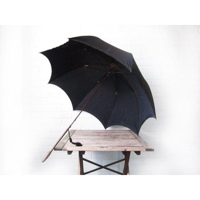 Antique Edwardian Mens Silk Parasol Black Umbrella - Image 3 of 6