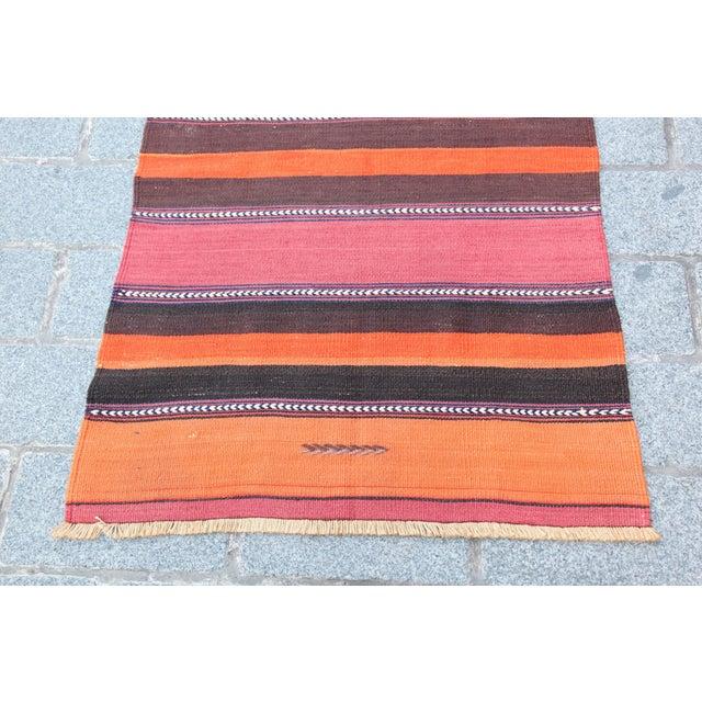 Turkish Floor Orange Stripe Kilim Rug - 4' x 2' 7'' - Image 3 of 11