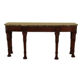 Henkel Harris Marble Top Mahogany Console Table W. Lion Heads For Sale