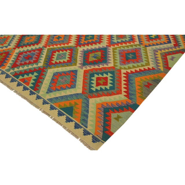 2000s Lan Ivory/Blue Hand-Woven Kilim Wool Rug -8'1 X 9'7 For Sale - Image 5 of 8