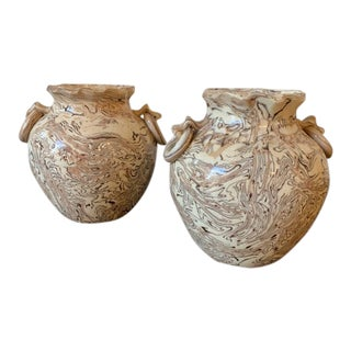 Marbleized Pottery Vases - a Pair For Sale